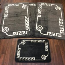 ROMANY WASHABLES GYPSY MATS 4PC SET SOFT GREEK DESIGN CHARCOAL GREY CARPETS NEW